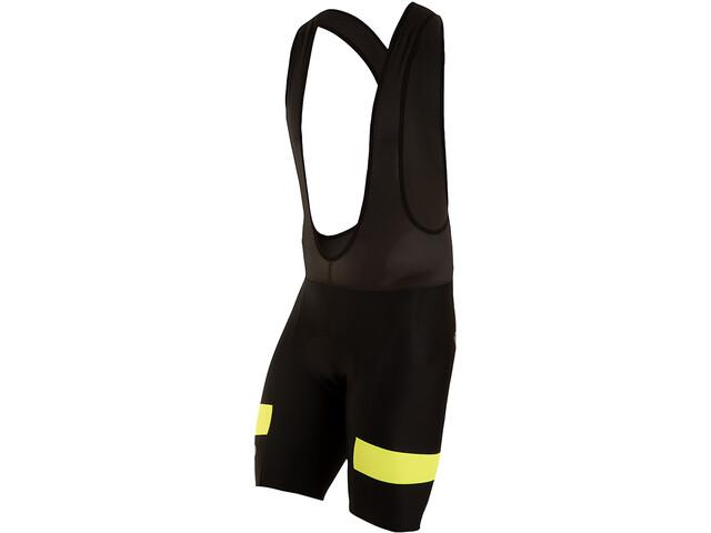 PEARL iZUMi Escape Quest Splice Bib Shorts Heren, black/screaming yellow
